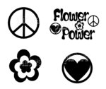 Set Flower Power, 48 Tattoos, 4 Motive, Farbwahl